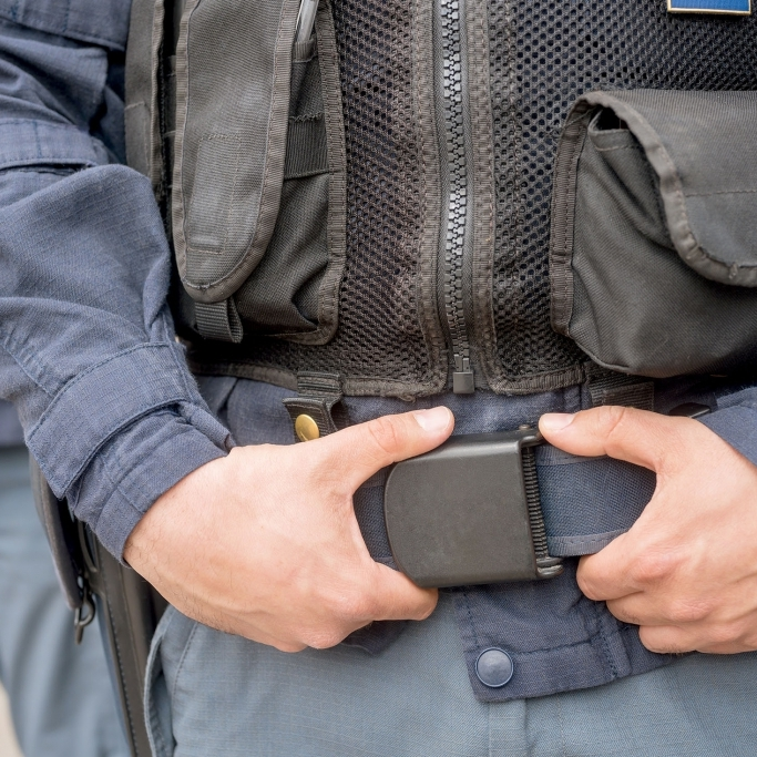 Midsection of police forces outdoors, Nikon Z7